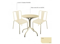 Table RIVIERA4 Carre 700X700- acier satine